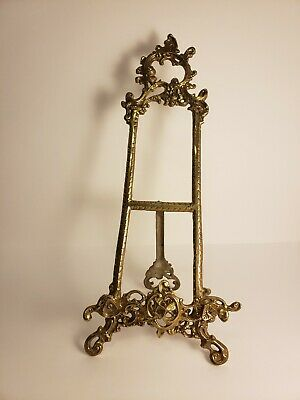 LARGE VINTAGE  ORNATE BRASS EASEL PICTURE PAINTING OR PLATE STAND / HOLDER 48cm