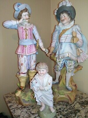 SALE⚔️2 Very LARGE Intricate & RARE~Antique ⚔️French Bisque Statues⚔️ w/ Gift.⚔️