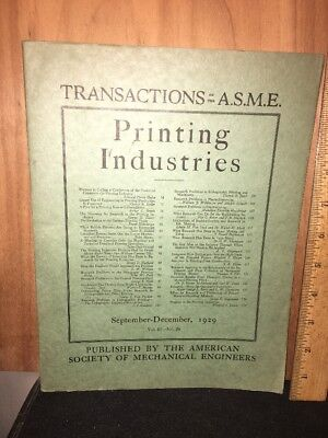 American Society Of Mechanical Engineers December 1929 Issue. Printing Issue