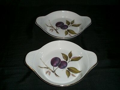 Set of 2 Royal Worcester Evesham Gold Au Gratin Baking Dish Oven to Table Ware