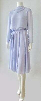 Vintage 70s 80s Periwinkle Lavender Ursula Cowl Layered Chiffon Dress S 5 6