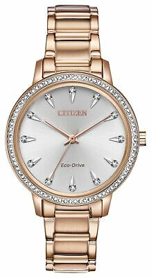 Citizen Eco Drive Women's Silhouette Rose Gold-Tone Crystal Watch FE7043-55A