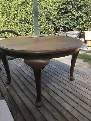 Vintage Antique Solid Wooden Round Dining Table 120cm Diameter