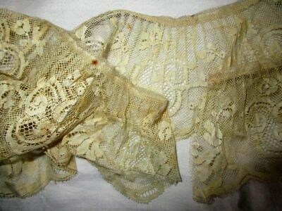 Antique Length Of Wide Embroidered Cotton Net Edging Lace~Ruffled~Pleated~58""