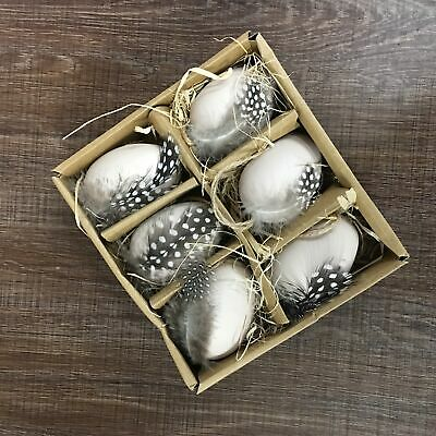 Gisela Graham Speckled Feather Easter Egg Hanging Decorations box of 6.