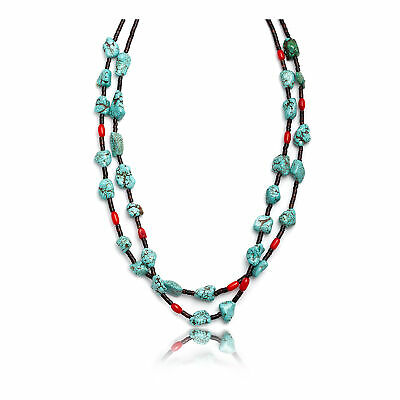 $550Tag Magnesite Coral Silver Certified Navajo Native 2 Strand Necklace 15532-7