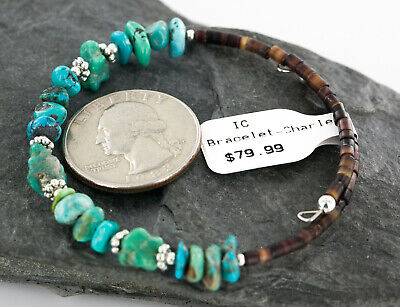 $80Tag Certified Navajo Turquoise Native American WRAP Bracelet D 12732-14D