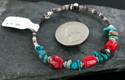 $80Tag Certified Navajo Turquoise CORAL Native American WRAP Bracelet 12728