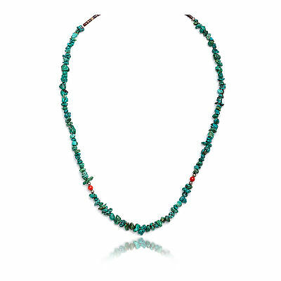 $200Tag Silver Certified Navajo Turquoise Coral Chain Necklace 371101945516