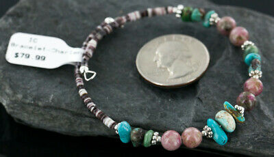 $80Tag Certified Navajo Turquoise Native Pink Agate WRAP Bracelet 12741-4