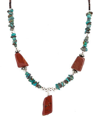 $220Tag Silver Certified Navajo Natural Turquoise Red Native Necklace 750225-4