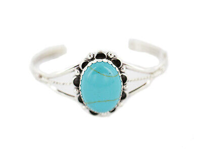 $350Tag Certified Silver Navajo Turquoise Native American Bracelet 13085