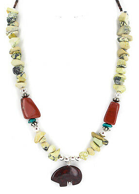 $270Tag Silver Certified Navajo Turquoise Red Green Native Necklace 750238-7
