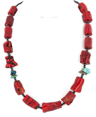 $270Tag Silver Certified Navajo Natural Turquoise Coral Native Necklace 24511-1