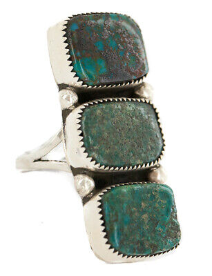 $260Tag Natural Turquoise Silver Certified Navajo Native American Ring 17001-1 Made by Loma Siiva