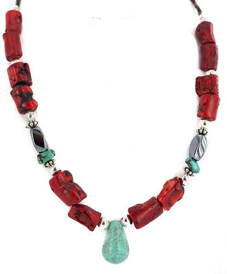 $280Tag Silver Certified Navajo Natural Turquoise Coral Native Necklace 750224-9