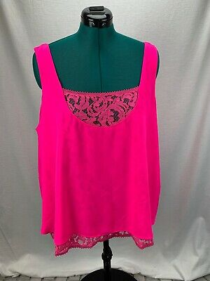5b85333f465 Rachel Roy neon pink scoop neck tank top with lace under tank plus size 3X