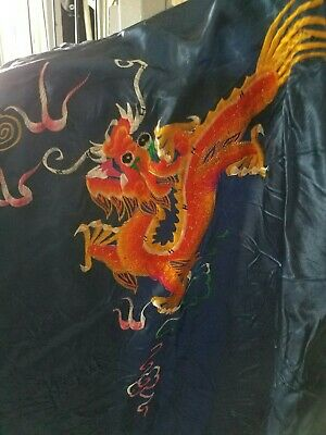 Vintage GOLDFISH BRAND Dragon Robe Hand-Embroidered Size Large Blue Kimono