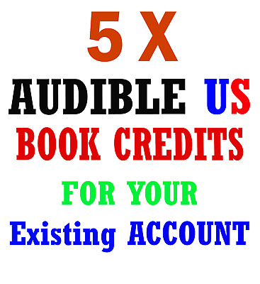 5x Audible US com Book credits for your own/existing account **LIMITED**