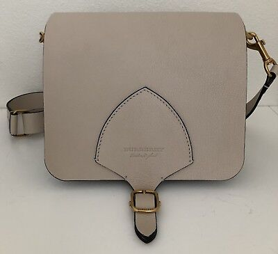 3f1bd3c5aec 100% Authentic Burberry Small Square Satchel Bag in goat Leather-stone  colored