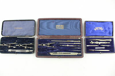 3 x Vintage Boxed DRAWING INSTRUMENTS Inc. Jackson Bros Ltd, Halden Premier