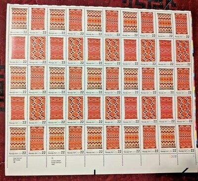 US Postage Stamp 1 Sheet (50) Scott #2355-2358 Navajo Art 22 Ct MNH