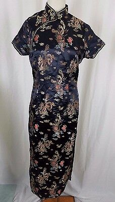 Vintage Asian Chinese Cheongsam Womens Dress Traditional Qipao Clothing Satin 40