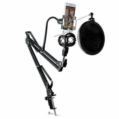 Microphone Suspension Boom Scissor Arm Stand with Filter Shock Mount Desktop