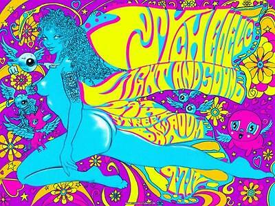 PSYCHEDELIC LIGHT AND Sound Festival Concert Poster , rare