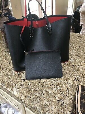 3cd7ee138e 100% AUTHENTIC Christian LOUBOUTIN Cabata Black Leather Tote Bag With  Makeup Bag
