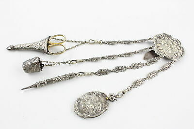 Antique Ladies SILVER PLATE Chatelaine w/ 4 Suspension Chains Inc. Scissors Etc