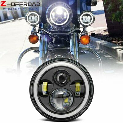 Home Motorcycle 7inch Round Moto Led Projector Headlight For Harley Softail Slim Fat Boy 7inch Halo Angel Eye Drl Headlamp Attractive Fashion