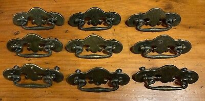 9 Metal Drawer Pulls Early American From Bassett Wall Unit Brass Color