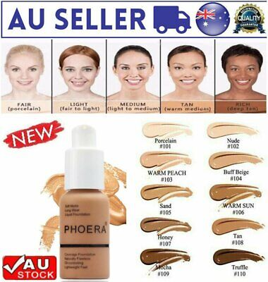 Coverage Concealer Cosmetic Longlasting Moisturizing PHOERA Liquid Foundation C