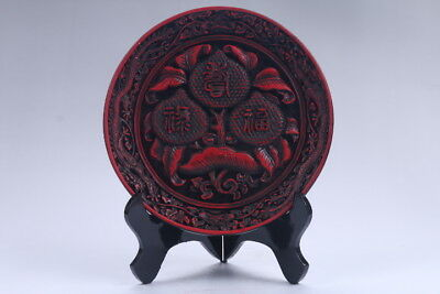 Oriental Vintage Delicate Lacquer carved  Plate  aa356
