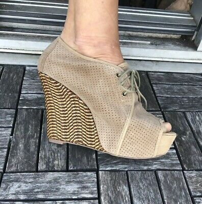 3e994e9db611 Jeffrey Campbell Taupe Suede Peforated Wedges Size 9 Never Worn