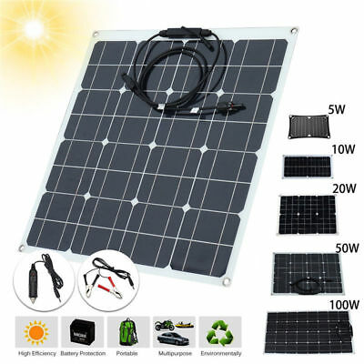 20W 30W 50W 100W 5V 12V 18V Solar Panel Battery Charger RV Boat Camping Off Grid