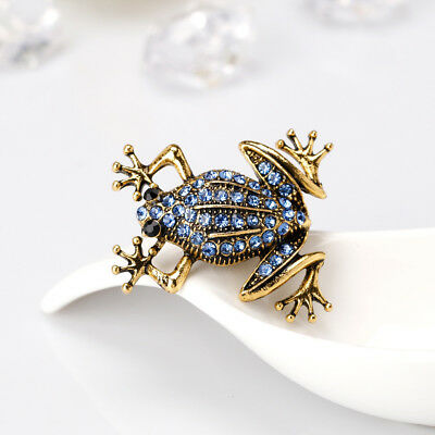Cartoon Alloy Rhinestone Frog Shape Brooch Lapel Scarf Pin Women Fashion Jewelry