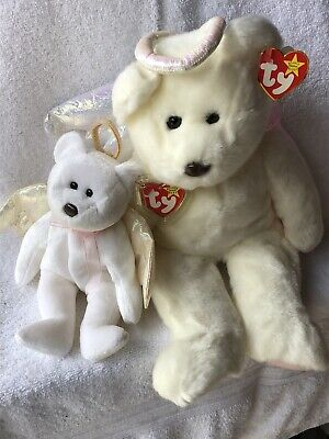 RARE TY BEANIE BABY Halo the Angel Bear 9 in and BUDDY 15in—Great Set 973c6e62d675