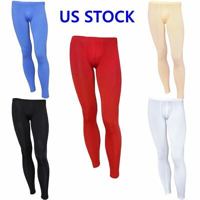 US _ Sexy Men's Compression Pouch Pants Thin Long Johns Thermal Tights Underwear