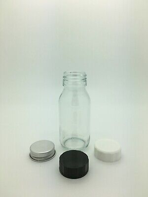 60ml Clear Glass Mini Round Alpha Bottle Wedding Favours, c/w choice of cap