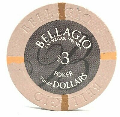 RARE $3 Three Dollar Poker Chip BELLAGIO HOTEL CASINO GAMING LAS VEGAS
