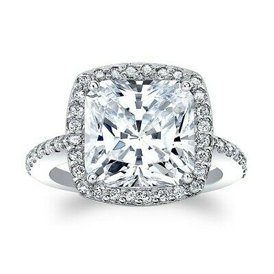 2.75CT Cushion Cut Diamond Halo Engagement Wedding Ring In 14K Solid White Gold