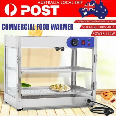Commercial Pie Food Warmer Hot Display Showcase Cabinet 2-layer Stainless Steel