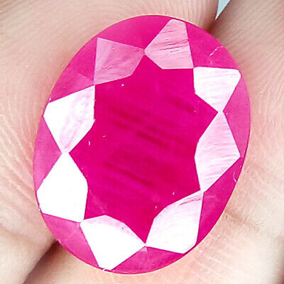 23.85 Cts 17Mm Si2 Oval Pinkish Red Natural Ruby Loose Gemstone