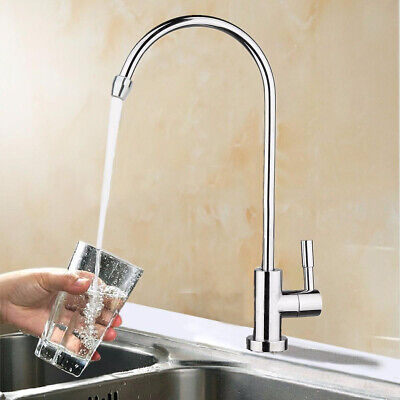 "1Pc 1/4"" 360° Chrome Osmosis Drinking RO Water Filter Faucet Finish Reverse Sink"