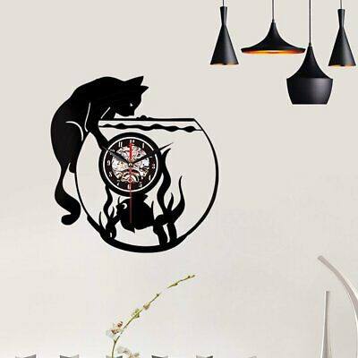 Vinyl Wall Clock Record Creative Wall Clock - Cat And Fish Without Light GB~G