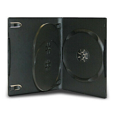 100 Standard 14mm Triple Multi 3 Disc CD DVD Black Storage Case Box