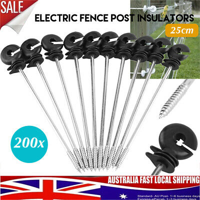 200x Screw In Offset Electric Fence Wood timber Post Insulators tape Cord 25cm