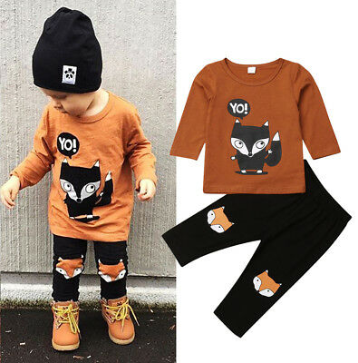 USA Toddler Baby Boy YO Fox Long Sleeve Tops T-shirt Pants Outfits Set Clothes